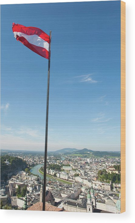 Austria Wood Print featuring the photograph Panoramic View Of Salzburg by Marcos Ferro