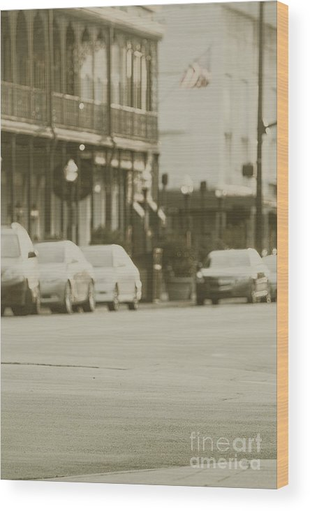 Cars; Traffic; Auto; Automobile; Automotive; Modern; City; Cityscape; Road; Outdoor; Outside; Street; Transportation; Vehicle; Building; Busy; Savannah; Georgia; United States; Business; Blacktop; Lanes; Flag; Parked; Corner Wood Print featuring the photograph Parallel Parking by Margie Hurwich