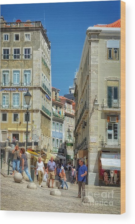 Pensao Geres Wood Print featuring the photograph Pensao Geres - Lisbon by Mary Machare