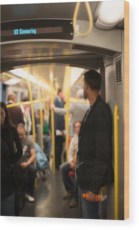Travel Wood Print featuring the photograph People Commuting Vienna Metro by Frank Gaertner