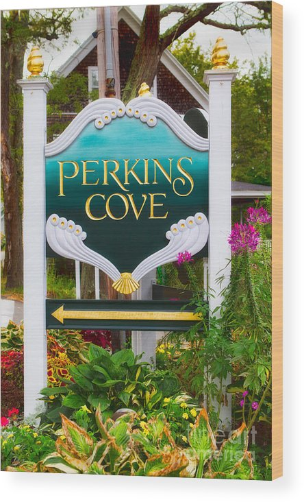 Color Image Photographs Wood Print featuring the photograph Perkins Cove Sign by Jerry Fornarotto