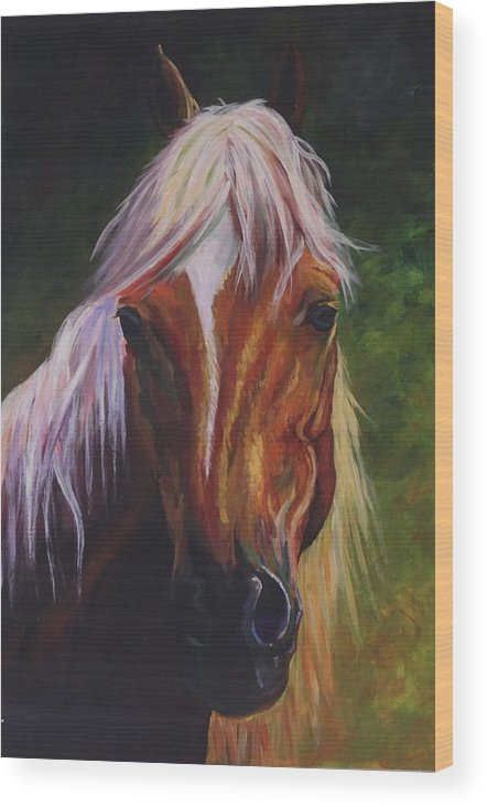 Horse Green Face Calm Pretty Wood Print featuring the digital art Placid by Poppy Paizs
