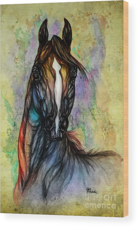 Horse Wood Print featuring the painting Psychedelic Brown And Blue by Angel Ciesniarska