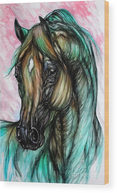 Horse Wood Print featuring the painting Psychodelic Pink And Green by Angel Ciesniarska