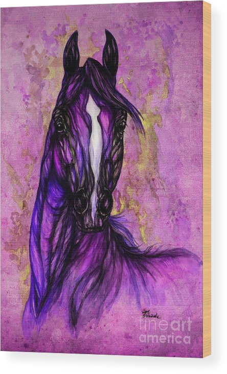 Wood Print featuring the painting Psychodelic Purple Horse by Angel Ciesniarska