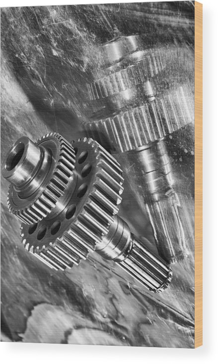 Gears Wood Print featuring the photograph Pure Titanium Aerospace Gear by Christian Lagereek