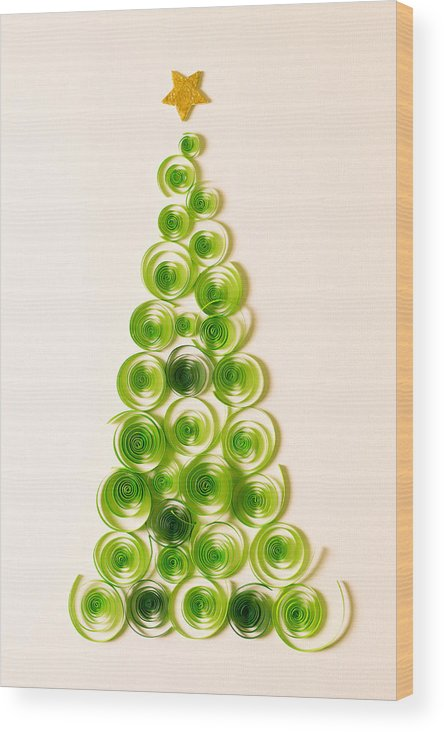 Quilling Christmas Tree Wood Print By Eskemar