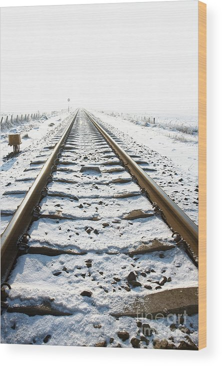 Ice Wood Print featuring the photograph Railroad In Snow by Jan Brons