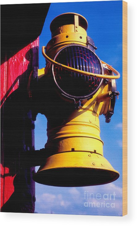 Lantern Wood Print featuring the photograph Railroad Oil Lantern by Paul W Faust - Impressions of Light