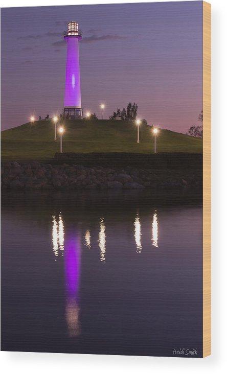 Rainbow Wood Print featuring the photograph Rainbow Harbor Lighthouse by Heidi Smith