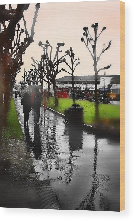 Pier 39 Wood Print featuring the photograph Rainy At The Pier by Lisa Alex