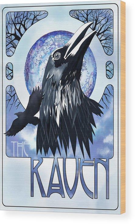 Raven Illustration Wood Print featuring the painting Raven Illustration by Sassan Filsoof