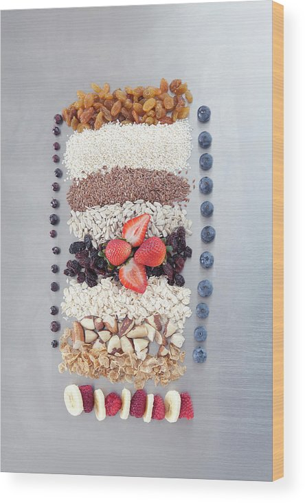 Nut Wood Print featuring the photograph Raw Nuts, Fruit And Grains by Laurie Castelli