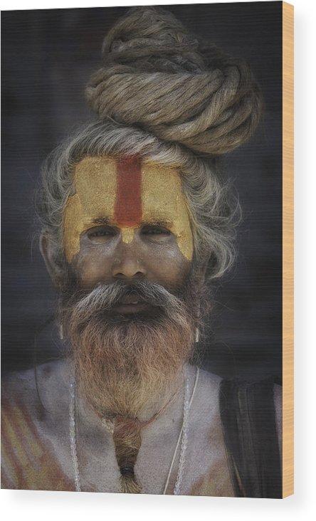 Nepal Wood Print featuring the photograph Red And Orange Sadhu by David Longstreath