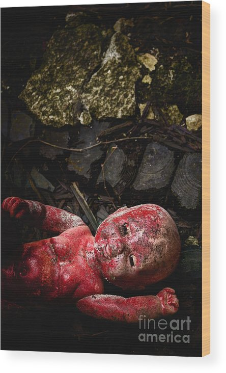 Antique Wood Print featuring the photograph Red Doll by Margie Hurwich