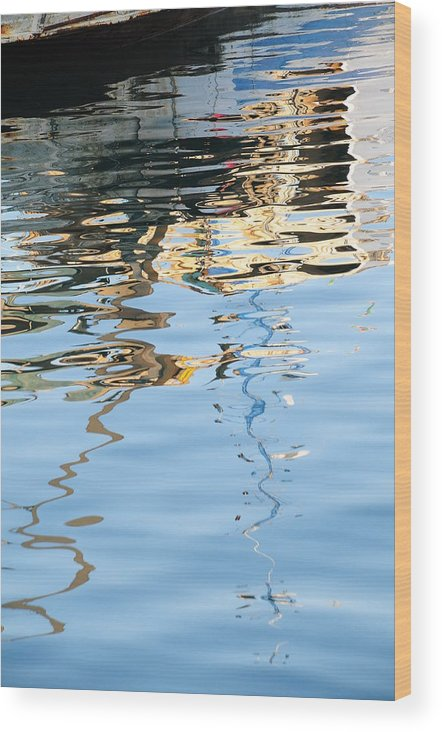 Water Italy Reflections Boats White Blue Wood Print featuring the photograph Reflections - White by Susie Rieple