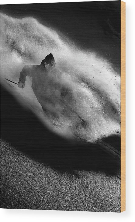 Freeride Wood Print featuring the photograph Riding by Tristan Shu