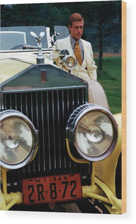 Actor Wood Print featuring the photograph Robert Redford By A Rolls-royce by Duane Michals