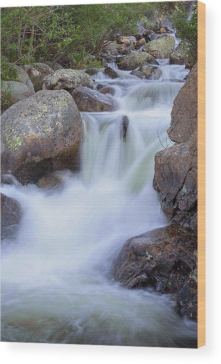 Waterfall Wood Print featuring the photograph Rocky Cascade by Samantha Schram