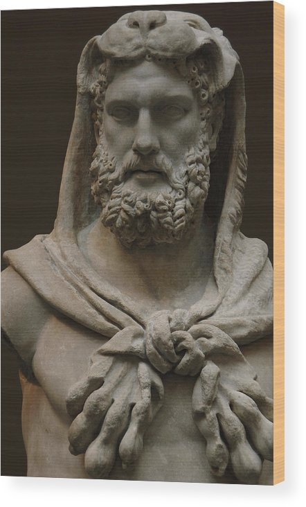 Roman Art  Marble Statue Of A Bearded Hercules Covered With Lions Skin   Early Imperial, Flavian Wood Print