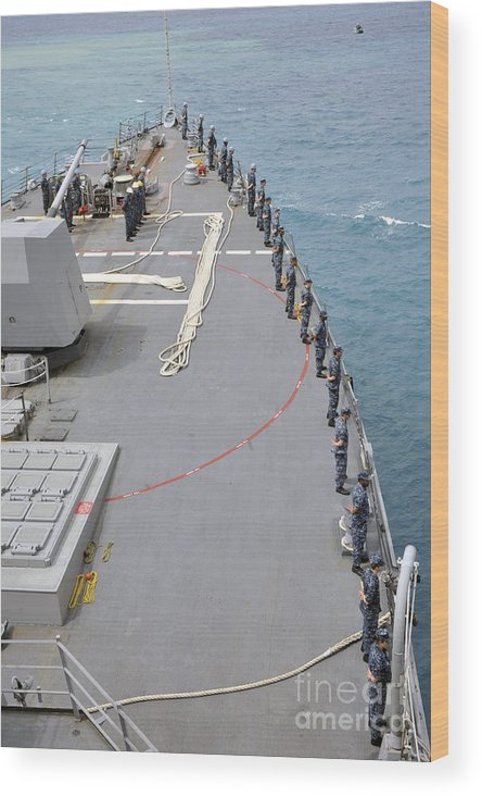 Military Wood Print featuring the photograph Sailors Man The Rails On Uss Mccampbell by Stocktrek Images
