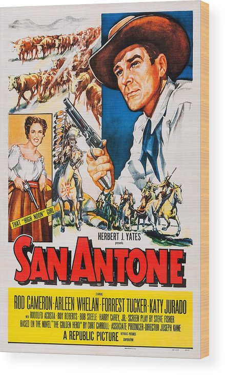 1950s Poster Art Wood Print featuring the photograph San Antone, Us Poster Art, From Left by Everett