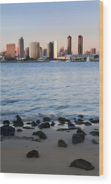 Built Structure Wood Print featuring the photograph San Diego Skyline, From Coronado Island by Richard Cummins