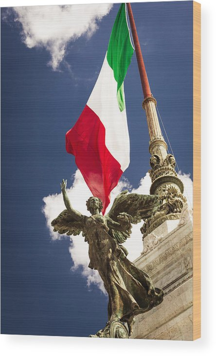 Italy Wood Print featuring the photograph Sculpture Of Angel On The Background Of The Italian Flag by Alex Anashkin