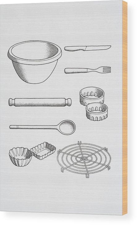 Selection Of Cook S Kitchen Utensils Including Knife Fork Pastry