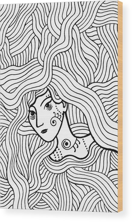 Shaman Mystic Girl With Wavy Hair  Doodle Coloring Page For Adults  Vector  Illustration  Wood Print