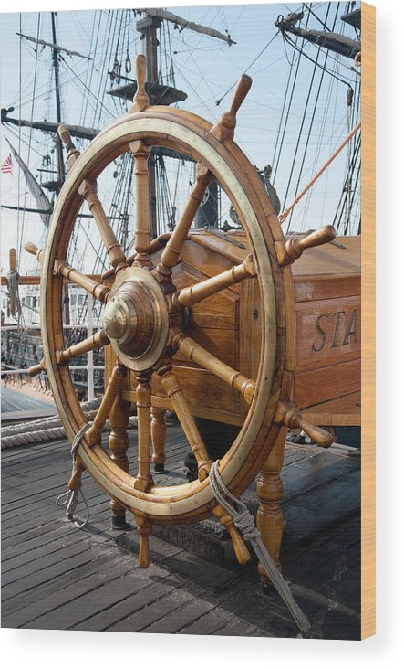 Nautical Wood Print featuring the photograph Ship's Helm by Clifford Beck