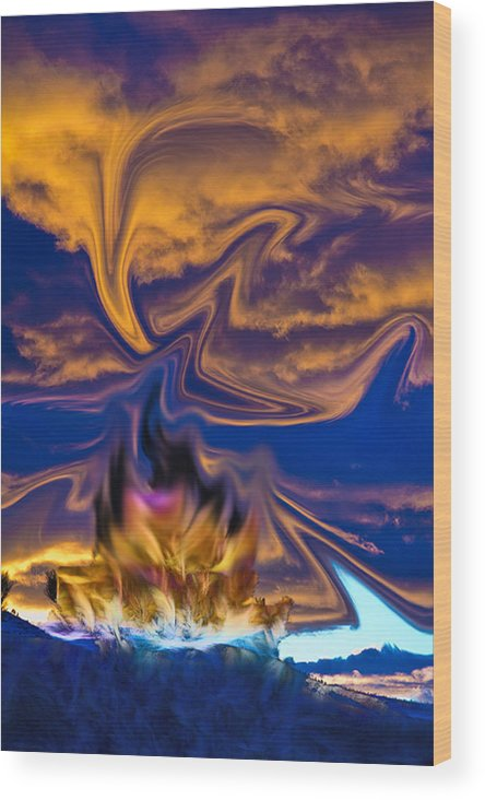 Abstract Wood Print featuring the digital art Sierra Sunset by John Saunders