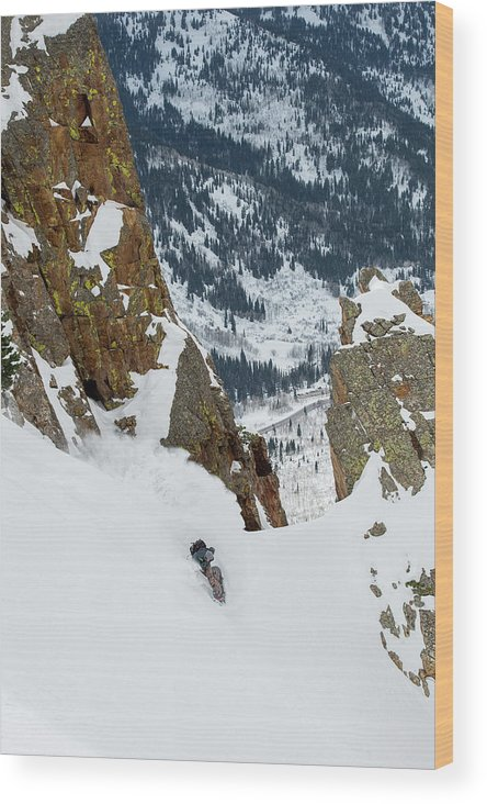 High Angle View Wood Print featuring the photograph Snowboarder Doing A Slash by Brandon Huttenlocher