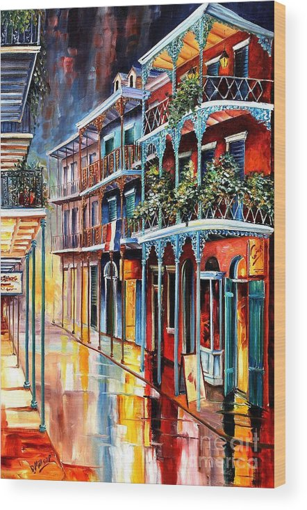 New Orleans Wood Print featuring the painting Sparkling French Quarter by Diane Millsap