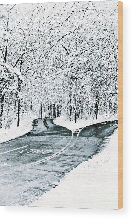 Snow Wood Print featuring the photograph Split Snowy Road by Birgit Tyrrell