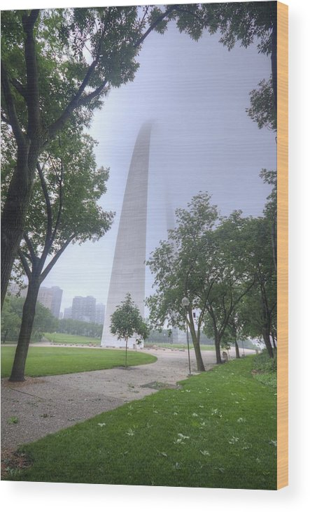 St Lost Louis Wood Print featuring the photograph St Louis Arch In Spring by Jon Dickson