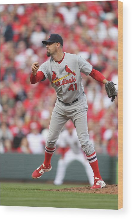Great American Ball Park Wood Print featuring the photograph St. Louis Cardinals Vs. Cincinnati Reds by John Grieshop