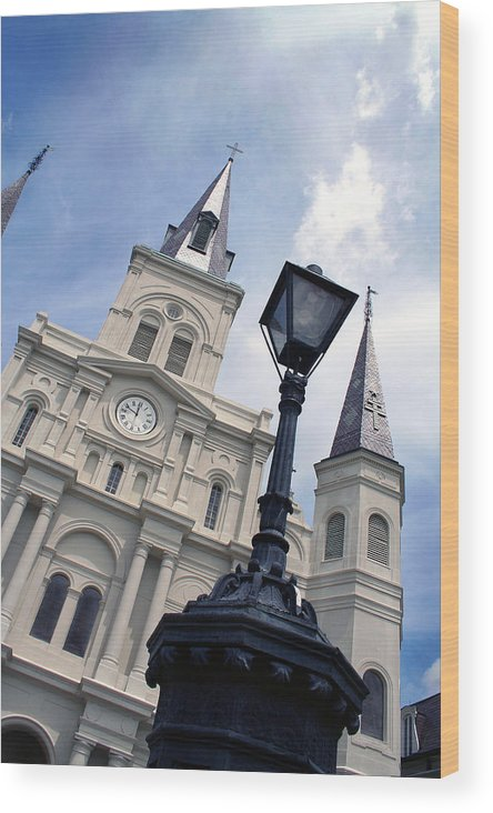 St Louis Cathederal Wood Print featuring the photograph St Louis Cathederal And Lamp by Rhonda Burger