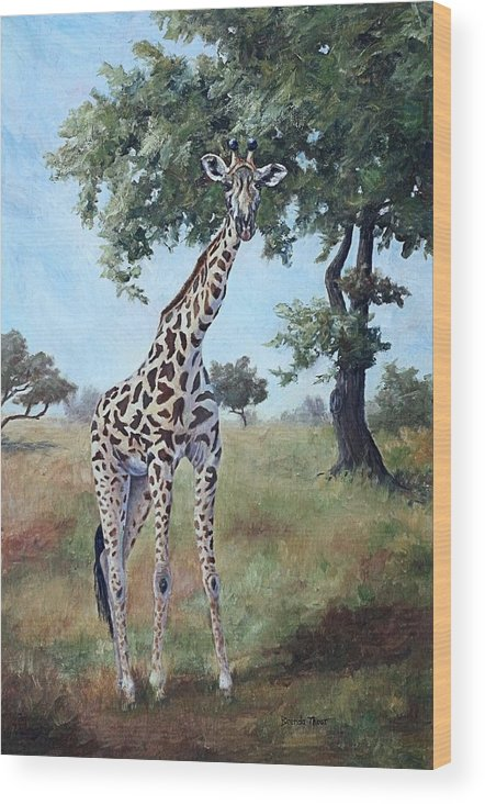 Giraffe Wood Print featuring the painting Standing Tall by Brenda Thour