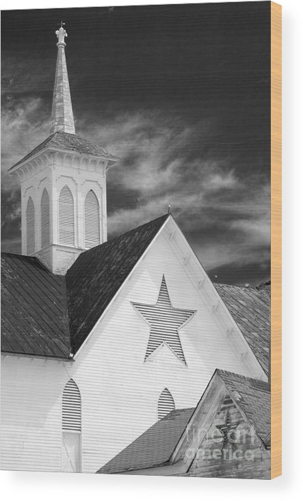 Infrared Wood Print featuring the photograph Star Barn Star by Paul W Faust - Impressions of Light