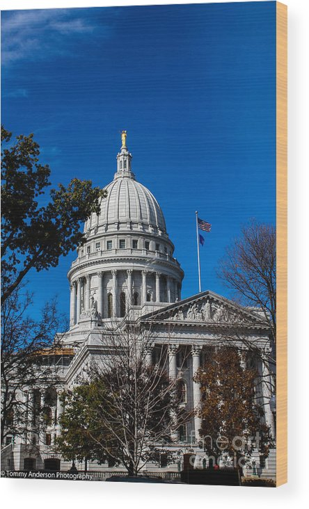 Madison Wood Print featuring the photograph State Capitol In Madison Wi by Tommy Anderson