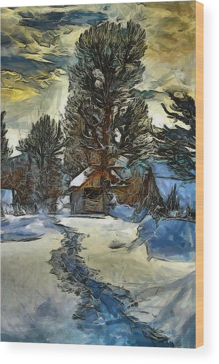 Snow Wood Print featuring the painting Steps In The Snow by Georgi Dimitrov