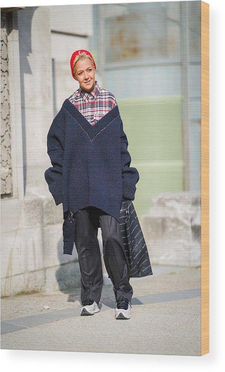 5357aea47 Black Color Wood Print featuring the photograph Street Style   Paris  Fashion Week Womenswear Fall