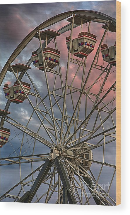 Amusement Wood Print featuring the photograph Sunrise Ferris Wheel by Jerry Fornarotto