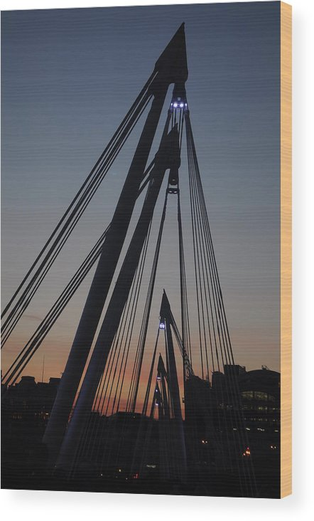 London Wood Print featuring the photograph Sunset Bridge by Vivienne Harman