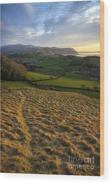 Sunset Wood Print featuring the photograph Sunset From Nant Y Gamar by Karen Ann Jones