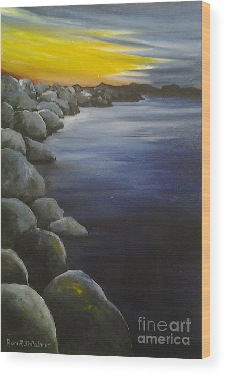 Sunset Wood Print featuring the painting Sunset On The Rocks by Roni Ruth Palmer