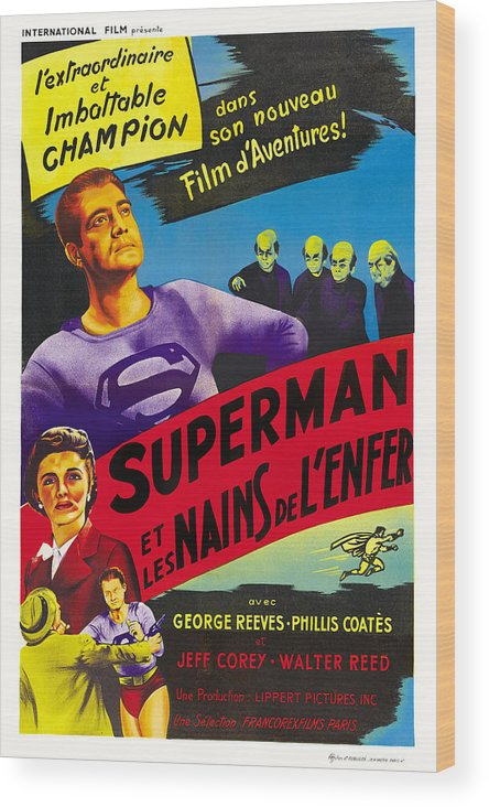 1950s Poster Art Wood Print featuring the photograph Superman And The Mole-men, Aka Superman by Everett