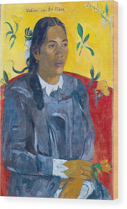 Paul Gauguin Wood Print featuring the painting Tahitian Woman With A Flower by Paul Gauguin