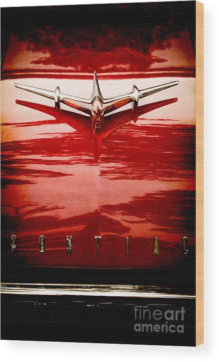 Plane; Airplane; Car; Automobile; Vehicle; Pontiac; Detail; Red; Reflection; Metal; Vintage; Old; Hot Rod; 1955; Star Chief; Hood Ornament; Name; Chrome; 1950s; 50s Wood Print featuring the photograph Take Off by Margie Hurwich